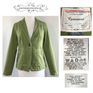 CARTONNIER Spring Green Cotton Patch Elbow Jacket
